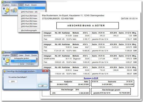 fibuman e - Liste aller Anlagegüter mit Berechnung der Buchwerte und der Jahres-AfA, Sonder-AfA und GWG-Pool
