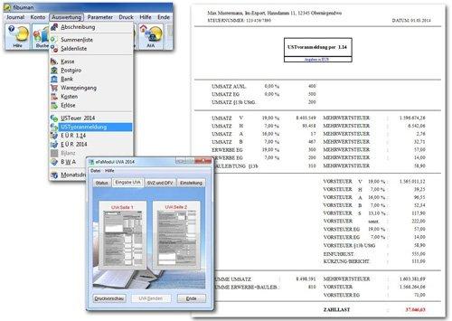 fibuman e - Umsatzsteuer-Voranmeldung auf Wunsch als Formular des Finanzamts oder elektronisch (Elster) per eFaModul