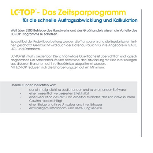 6. Produktbild LC-TOP - Kalkulationssoftware für GAEB