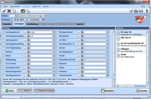 Datenfuchs, weitere Informationen zum Praxisverwaltungssystem per Abfrage der Datenbank