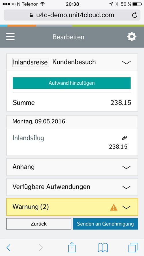 4. Produktbild Unit4 Travel and Expenses - Reisekostensoftware