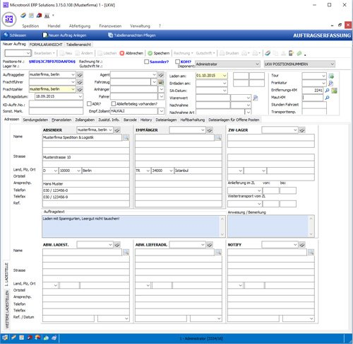 2. Produktbild MicrotronX ERP - Speditionssoftware