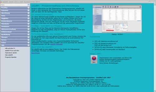 adad95 - Das Hauptmen�, rechts wird zu jedem Men�punkt eine Anleitung eingeblendet.