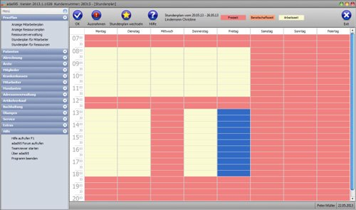 adad95 - Der Stundenplan, jeder Mitarbeiter kann abweichend von PX �ffnung seinen eigenen Plan erhalten, auch Wechselsch