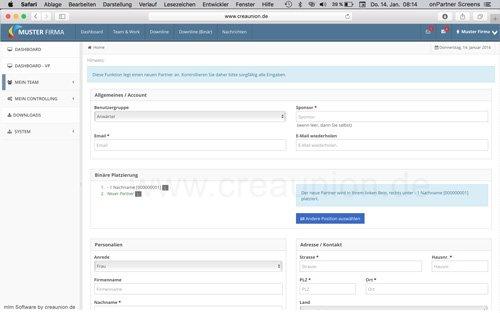 5. Produktbild onPartner - mlm Software f�r Networkmarketing und Direktvertrieb