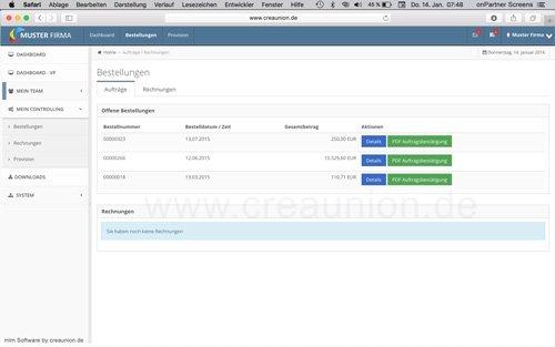 7. Produktbild onPartner - mlm Software f�r Networkmarketing und Direktvertrieb