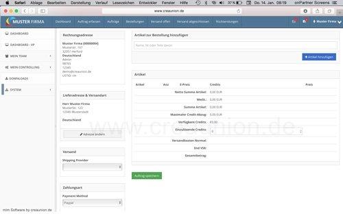 13. Produktbild onPartner - mlm Software f�r Networkmarketing und Direktvertrieb