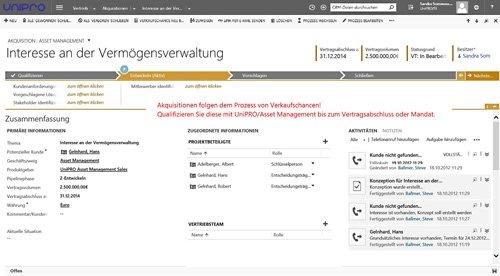UniPRO/Asset Management: Akquisition