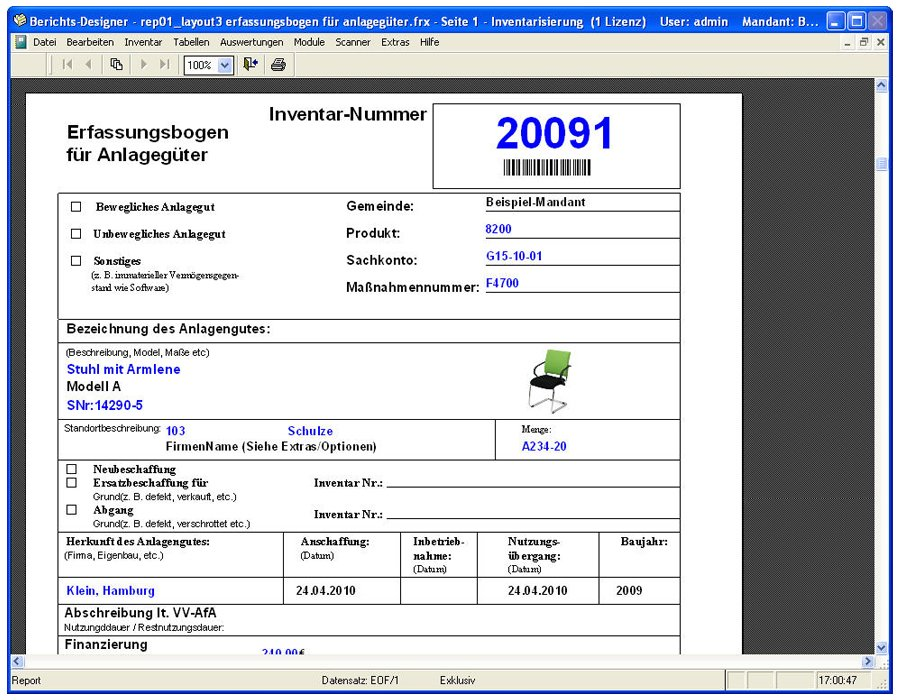 8. Produktbild Inventarsoftware f�r Barcode Inventur-Etiketten