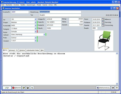 4. Produktbild Inventarsoftware f�r Barcode Inventur-Etiketten
