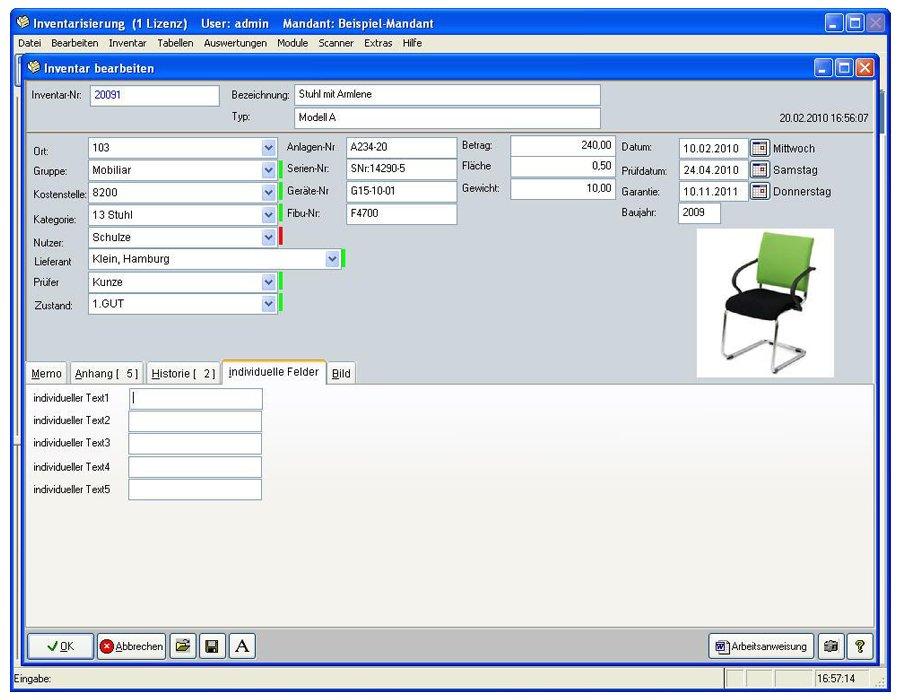 6. Produktbild Inventarsoftware f�r Barcode Inventur-Etiketten