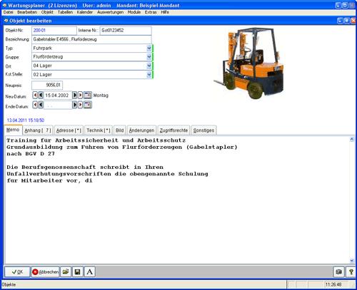 2. Produktbild Wartungsplaner BGV Prüffristenmanagement Instandhaltungssoftware