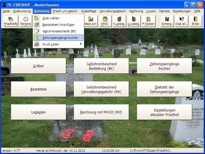 1. Produktbild  PC-FRIEDHOF Software zur Friedhofsverwaltung