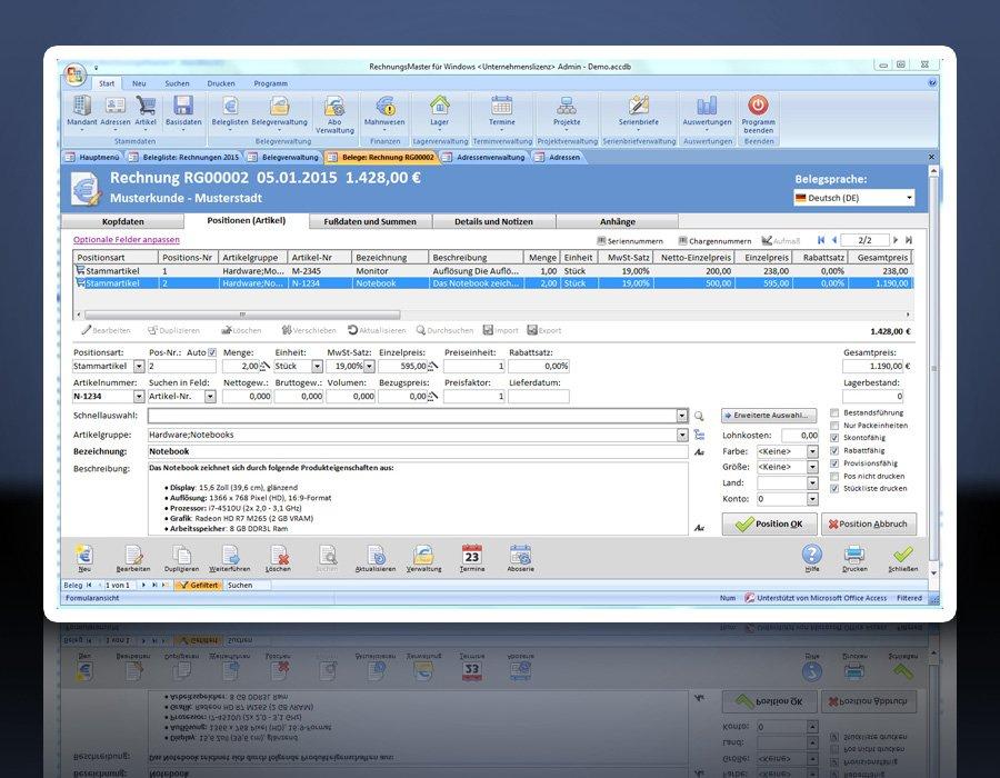 12. Produktbild Rechnungsprogramm RechnungsMaster für Windows