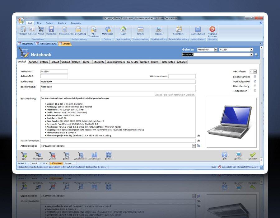 4. Produktbild Rechnungsprogramm RechnungsMaster f�r Windows