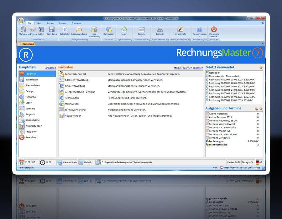 1. Produktbild Rechnungsprogramm RechnungsMaster f�r Windows