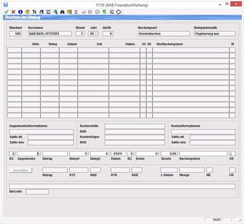 1. Buchungsmaske Dialogbuchung/ Softwarel�sung f�r Steuerberater/Unternehmer/Speditionen