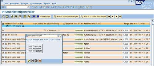 1. Produktbild St�cklistengenerator f�r SAP PM