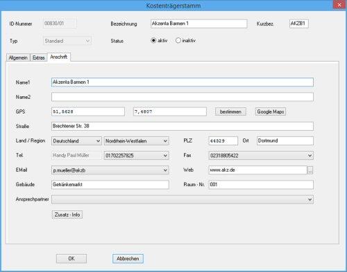 5. Produktbild: ZEBAU - Mobile Zeiterfassung - Kostenträgerstamm