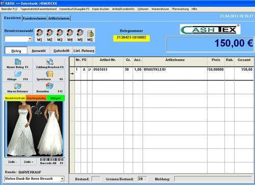 1. Produktbild CASHTEX Warenwirtschaft für Brautmoden